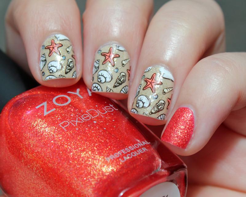 Sea Shells nail art by Moriesnailart