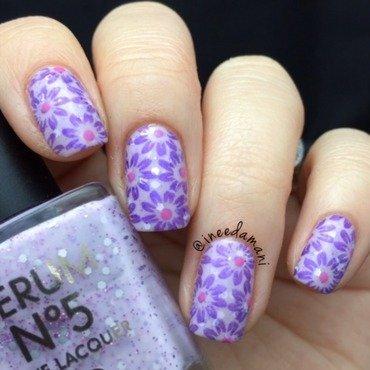 Lilac Floral nail art by Carmen Ineedamani