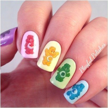 Care Bears  nail art by Playful Polishes