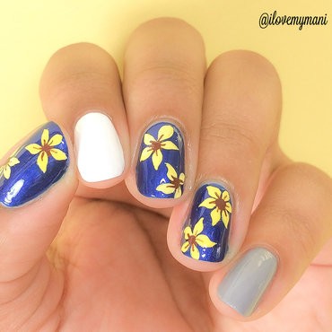 Summery Sunflower(ish) nail art! nail art by Gabrielle