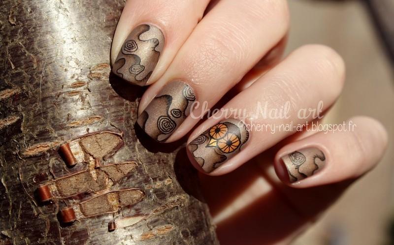 Hibou et bois nail art by Cherry Nail art
