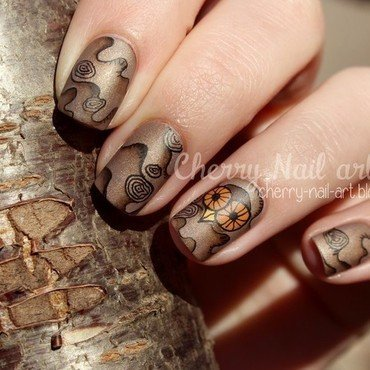 Hibou et bois nail art by Cherry Nail art