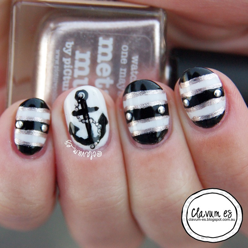 Nice and Nautical nail art by Melissa (Clavum Es)