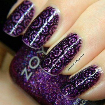 purple swirls nail art by Melissa Eastwood