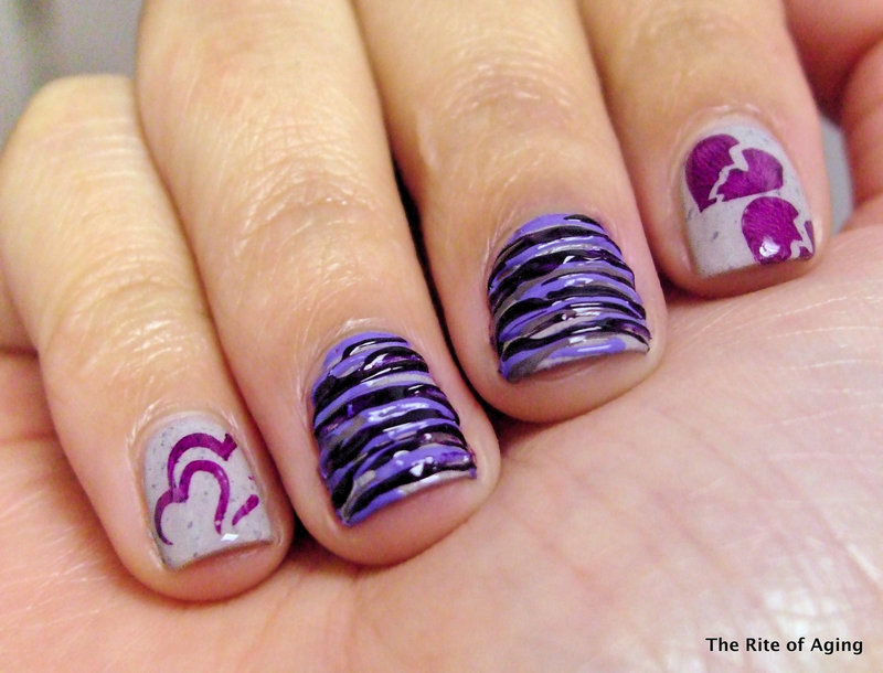 Cancer Awareness Sugar-Spin nail art by Monica