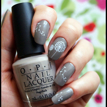 Dandelion wishes nail art by Cranberry Fairy