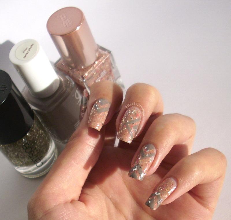 glitter triangles nail art by irma