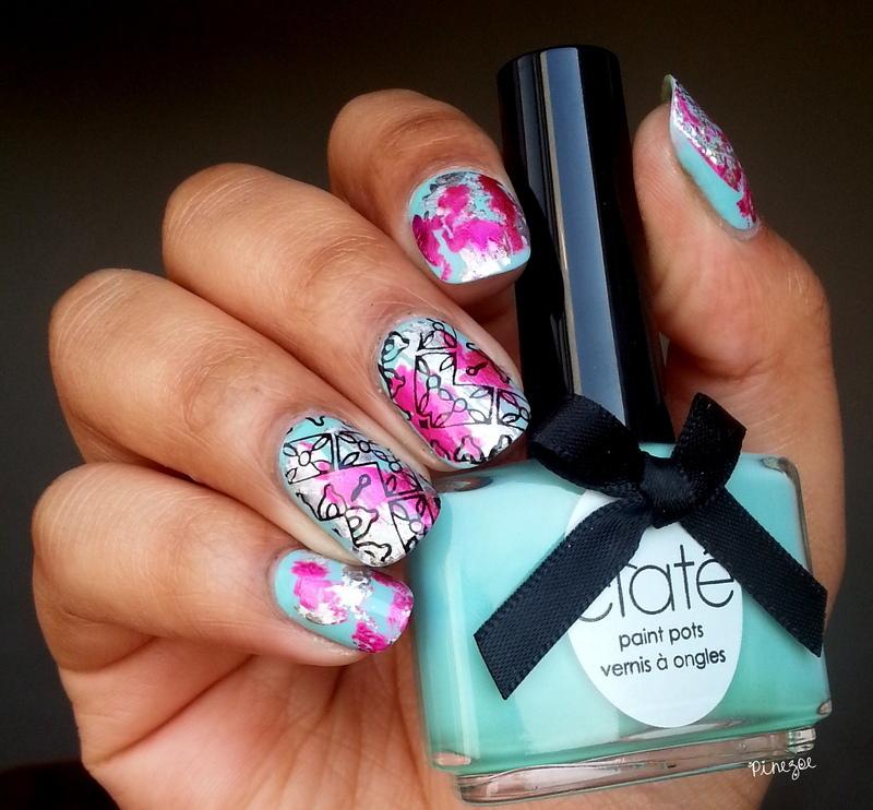 Foil & Stamping nail art by Pinezoe