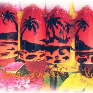 Island at sunset nail art by Ewa EvaNails