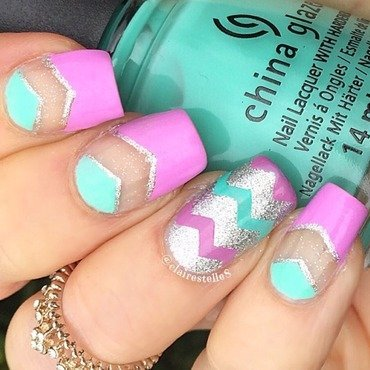 Spring negative space mani nail art by Claire O'Sullivan