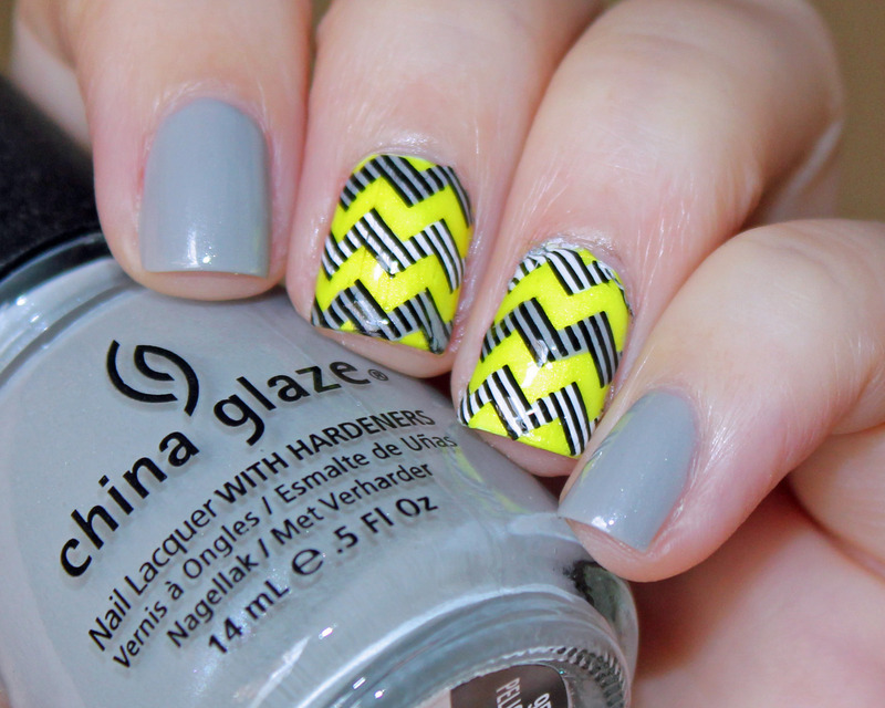 Striped Chevron nail art by Moriesnailart