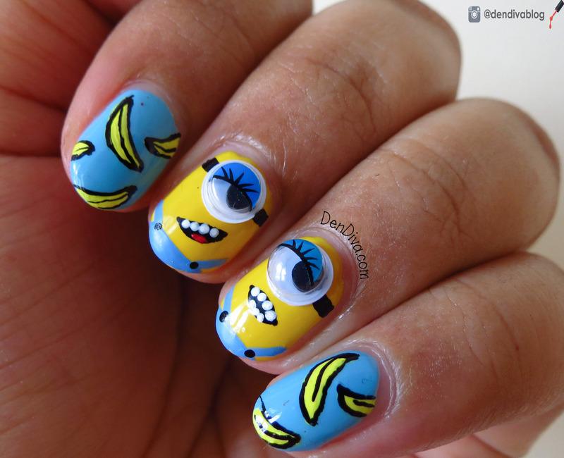 Minion & Banana Nails nail art by Madhu DenDiva
