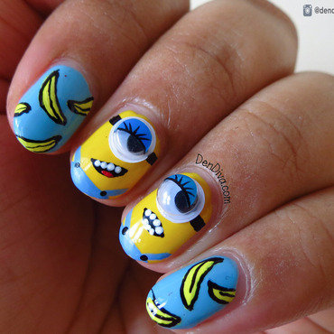 Minion & Banana Nails nail art by Madhu DenDiva