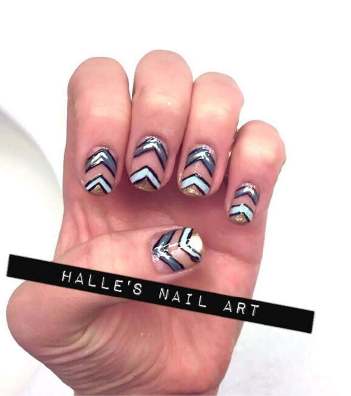 ChevrOn and Off nail art by Halle Butler