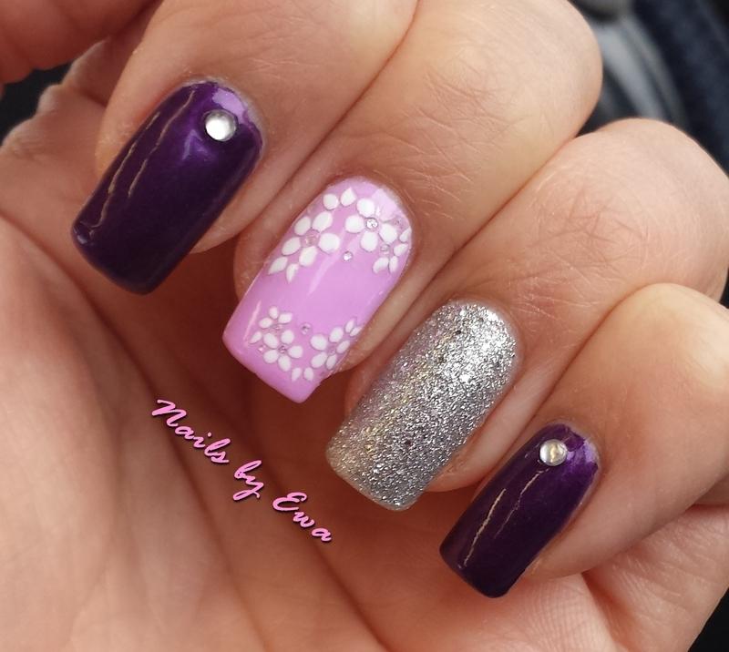 Purple nails nail art by Ewa