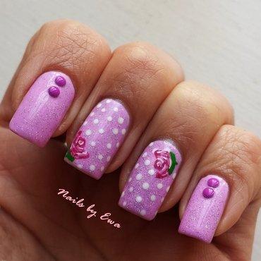Roses + polka dots nail art by Ewa