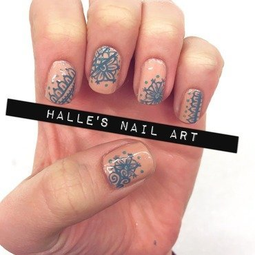Something Nude, Something Borrowed, Something Blue nail art by Halle Butler