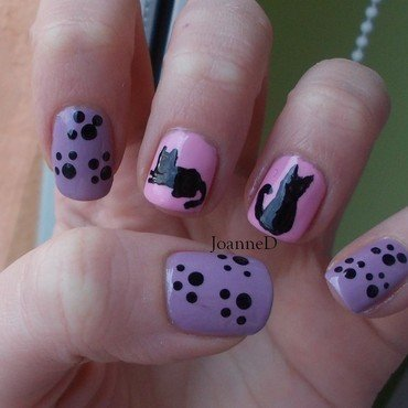 Cats nail art by JoanneD