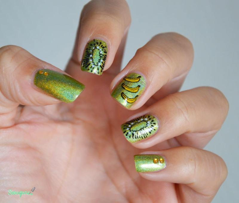 MoYou London Tropical Fruits - Banana or kiwi ? nail art by Sweapee