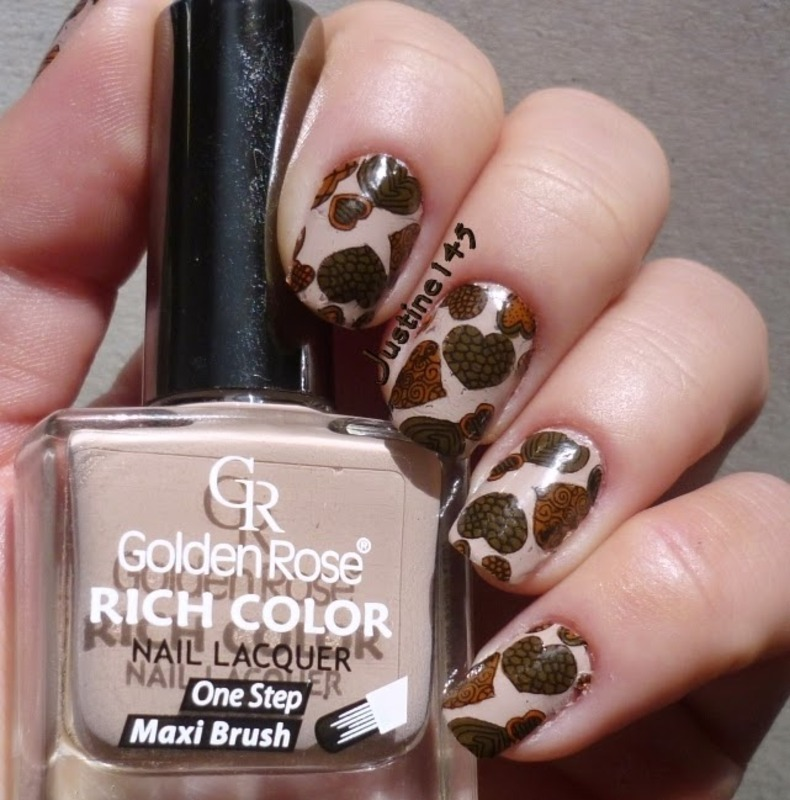 chocolate hearts nail art by Justine145