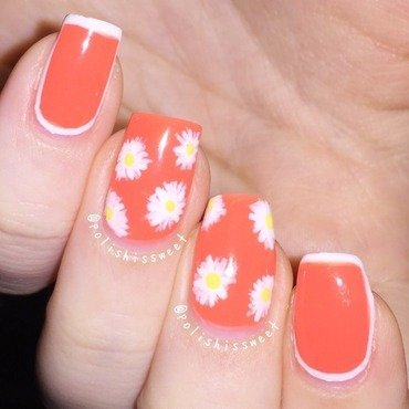 Daisies with White Borders! nail art by PolishIsSweet