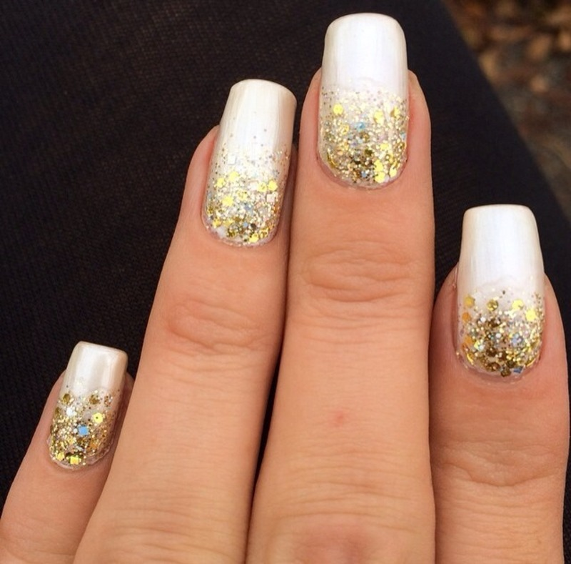 Gold White Glitter Gradient Nail Art By Virginia Nailpolis