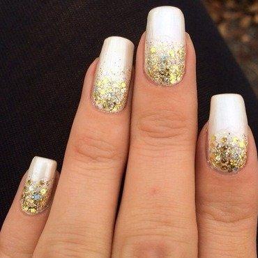Gold & white glitter gradient  nail art by Virginia
