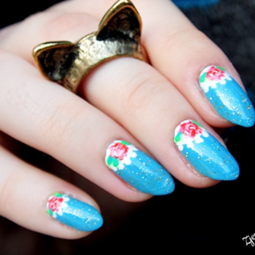 Golden Rose Paris 88 nail art by SheLazy