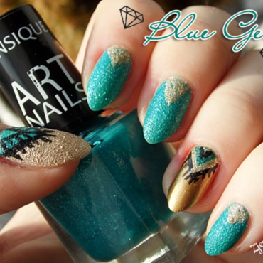 Blue Gem nail art nail art by SheLazy