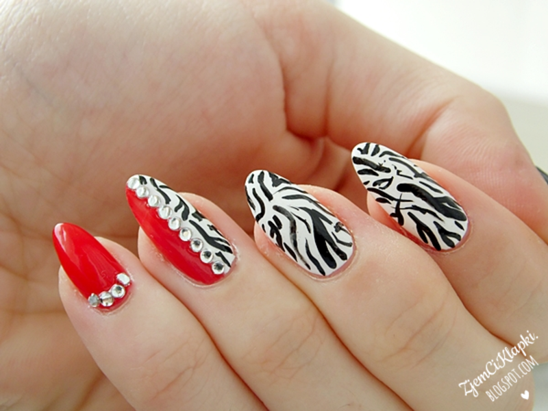 Red Zebra Nail Art Nail Art By Shelazy Nailpolis Museum Of Nail Art