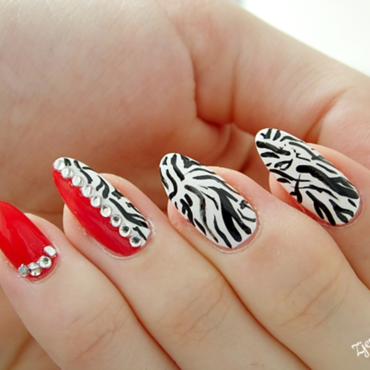 Red zebra nail art nail art by SheLazy
