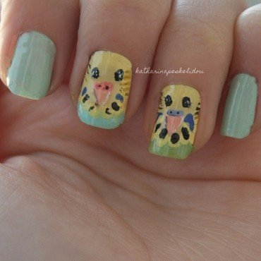 Budgie Love nail art by katharinapeskelidou