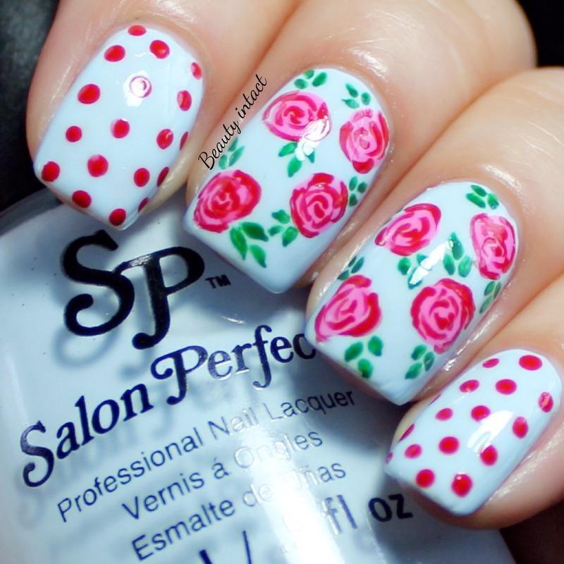 Spring Rose nails nail art by Beauty Intact