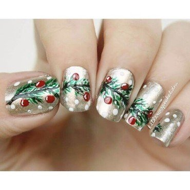 Christmas Tree Branch nail art by katharinapeskelidou
