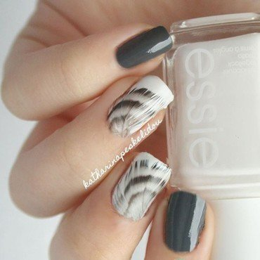 Grey Feathers nail art by katharinapeskelidou