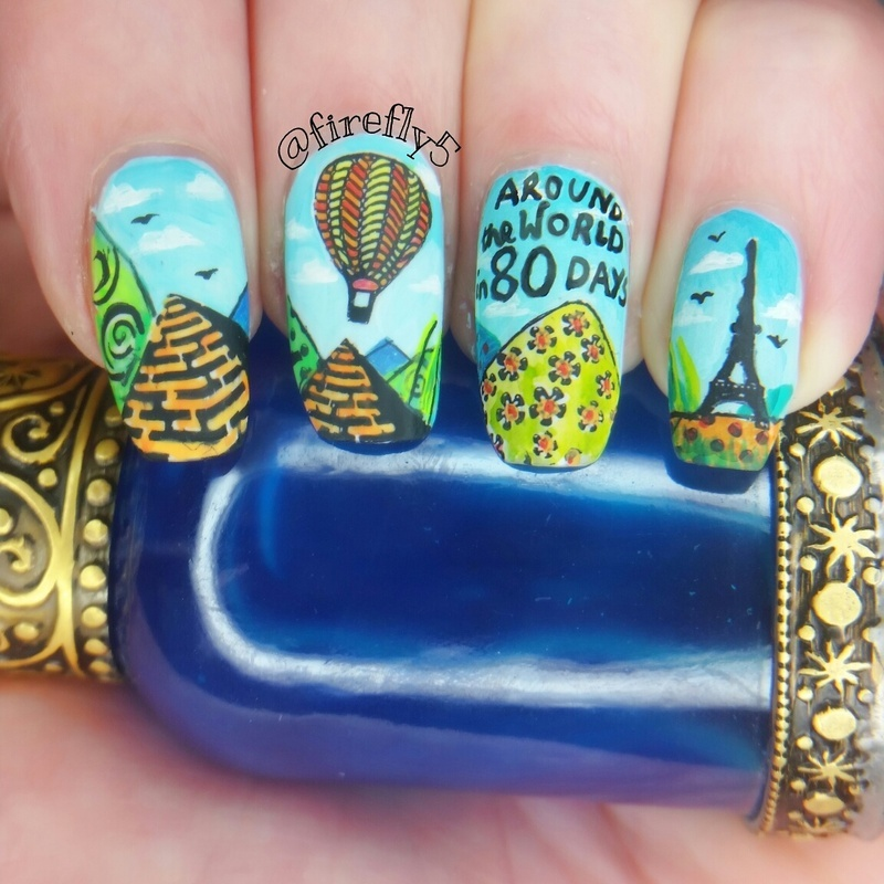 Around the world in 80 Daya nail art by Ruth Cox (@firefly5)