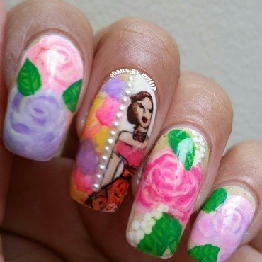 Spring in my step nail art by Milly Palma