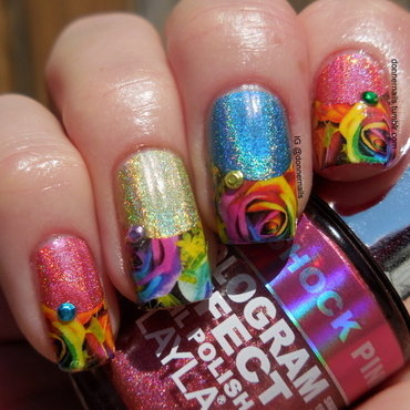 Holographic Spring nail art by Donner