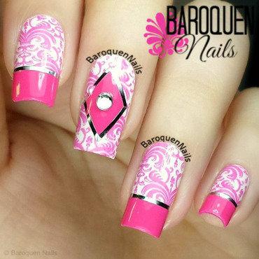 Pink Damask nail art by BaroquenNails