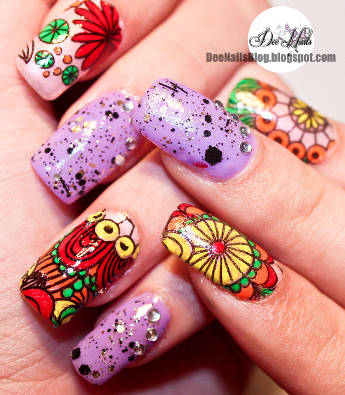 Advanced stamping for spring nail art by Diana Livesay