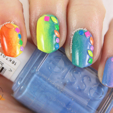 Vertical Rainbow Gradient with Rainbow Studs nail art by Robin