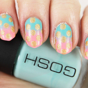 Mint/Pink Gradient with Dots! nail art by Robin