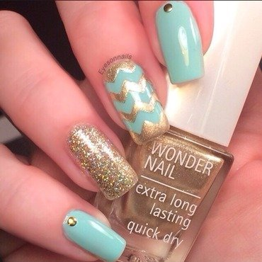 Mix and match gold & mint  nail art by Virginia