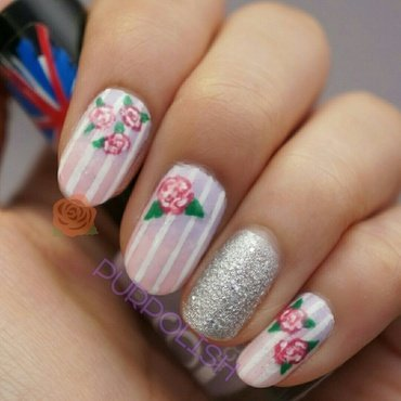 Rose nails nail art by purpolish