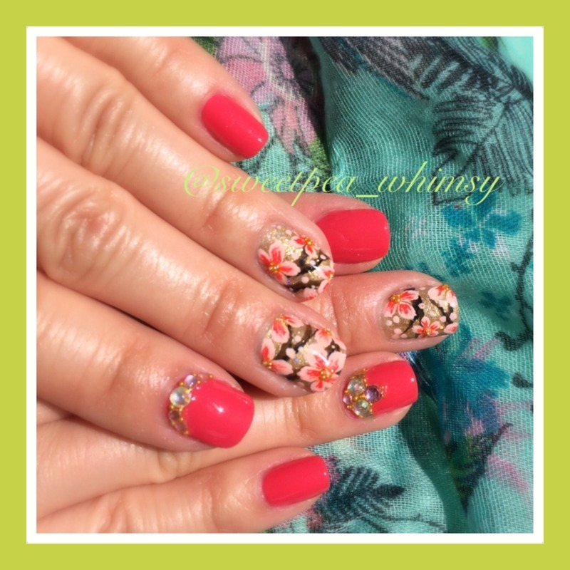 Spring Blossoms & Dark Pink nail art by SweetPea_Whimsy