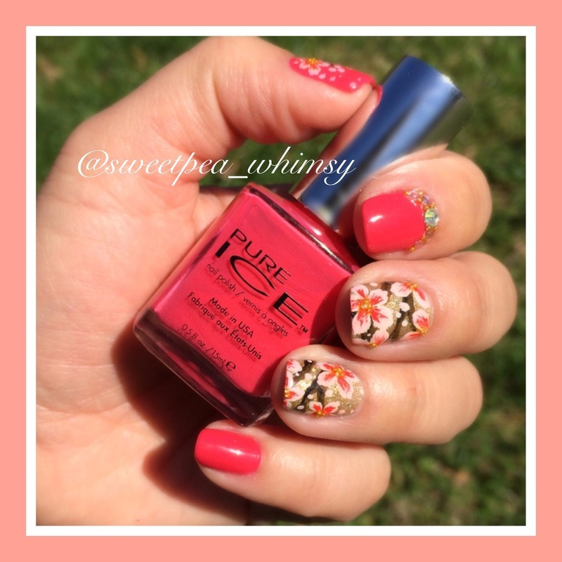 Spring Blossoms & Dark Pink (close up) nail art by SweetPea_Whimsy