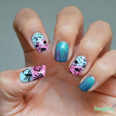 Stamping Jungle nail art by Sweapee
