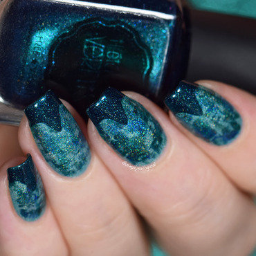 Teal holo dry brush and fancy chevron tips nail art by simplynailogical