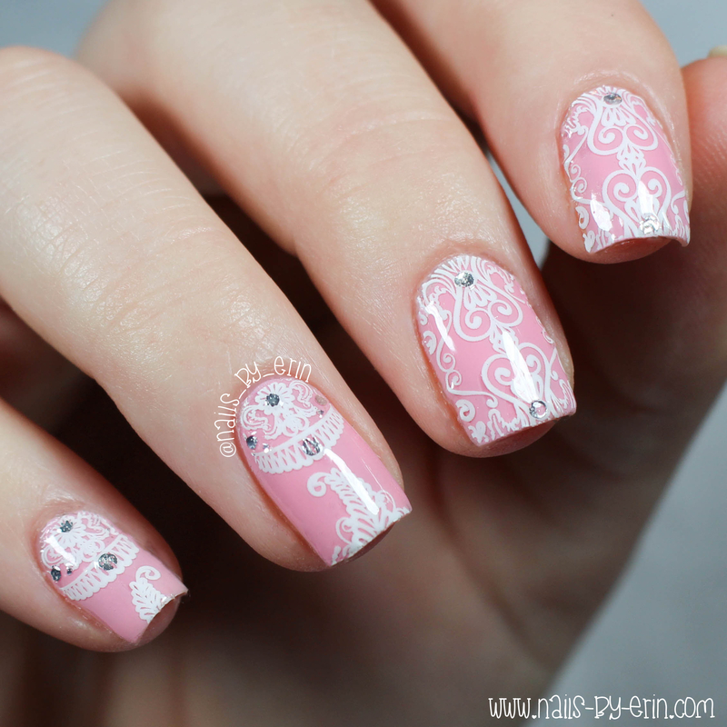 Pink and White Lace Nails nail art by Erin