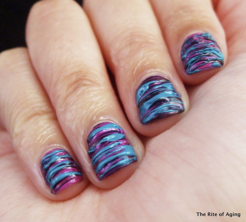 Purple and Teal Sugar-Spin Nail Art nail art by Monica